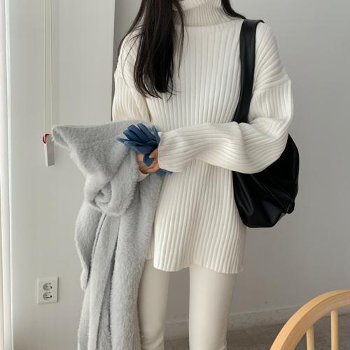 High-neck pola knit