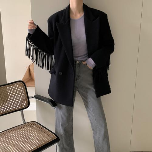 Fringe wool jacket