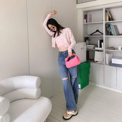 Pastel check cardigan *핑크, 3월15일 입고예정*