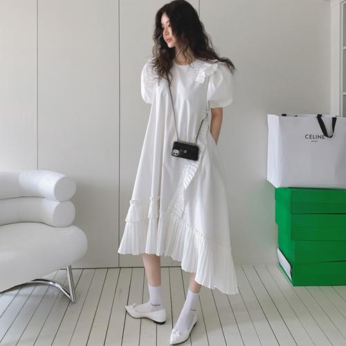 プリーツアンバランスドレス