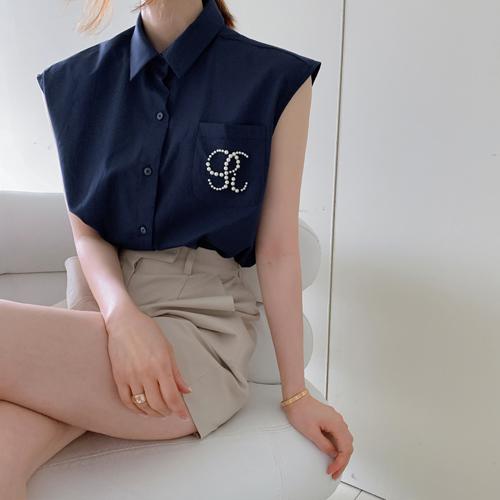 イニシャル 真珠 シャツ